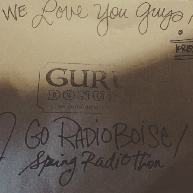 Shout-out to @gurudonuts for keeping us sweet every Radiothon! #radioboise…