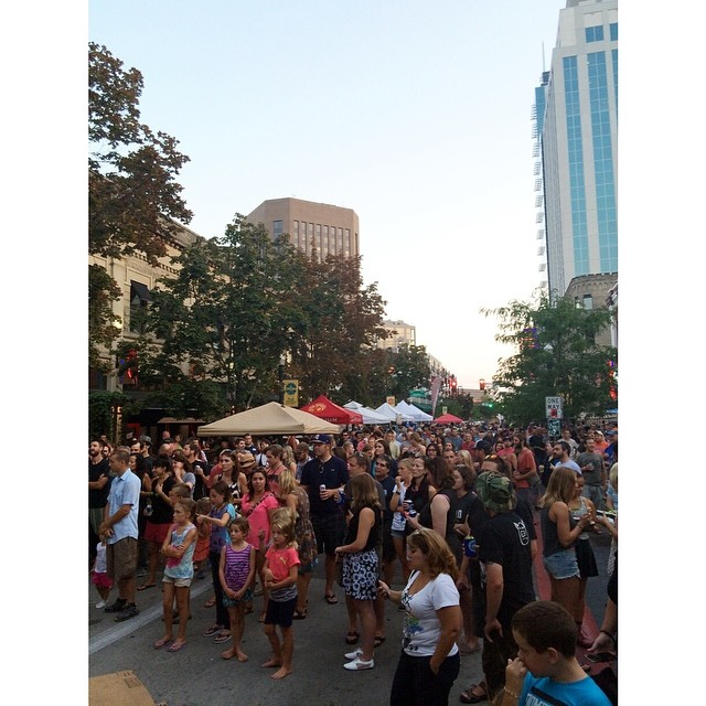 People as far as the eye can see waiting to hear @blueriderband. We can't wait for their set! #prefat14