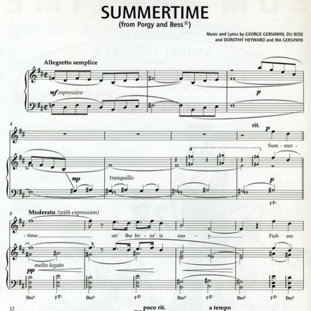 George Gershwins Summertime from Porgy and Bess is a bonafidehellip