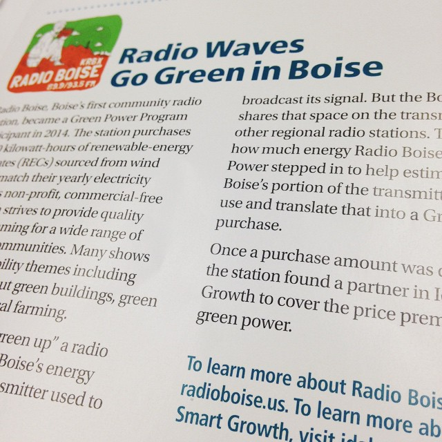 @radioboise is featured in @idahopower's Green Power Program newsletter, highlighting…