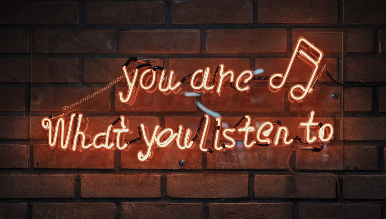 """Lighted Sign that says """"You are what you listen to"""""""