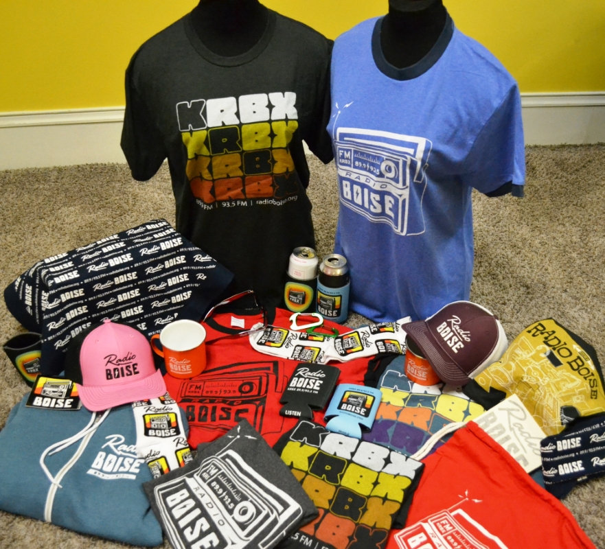 Photo of all new items of Radio Boise merch