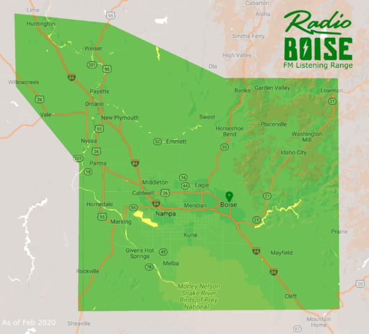 KRBX 89.9 FM Listener Area Map